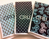 Monogrammed Burp Cloth Trio - Bicycles - Blue and Gray - Monogrammed Gift - Baby Shower Gift - Personalized Baby gift - Baby Gift Set
