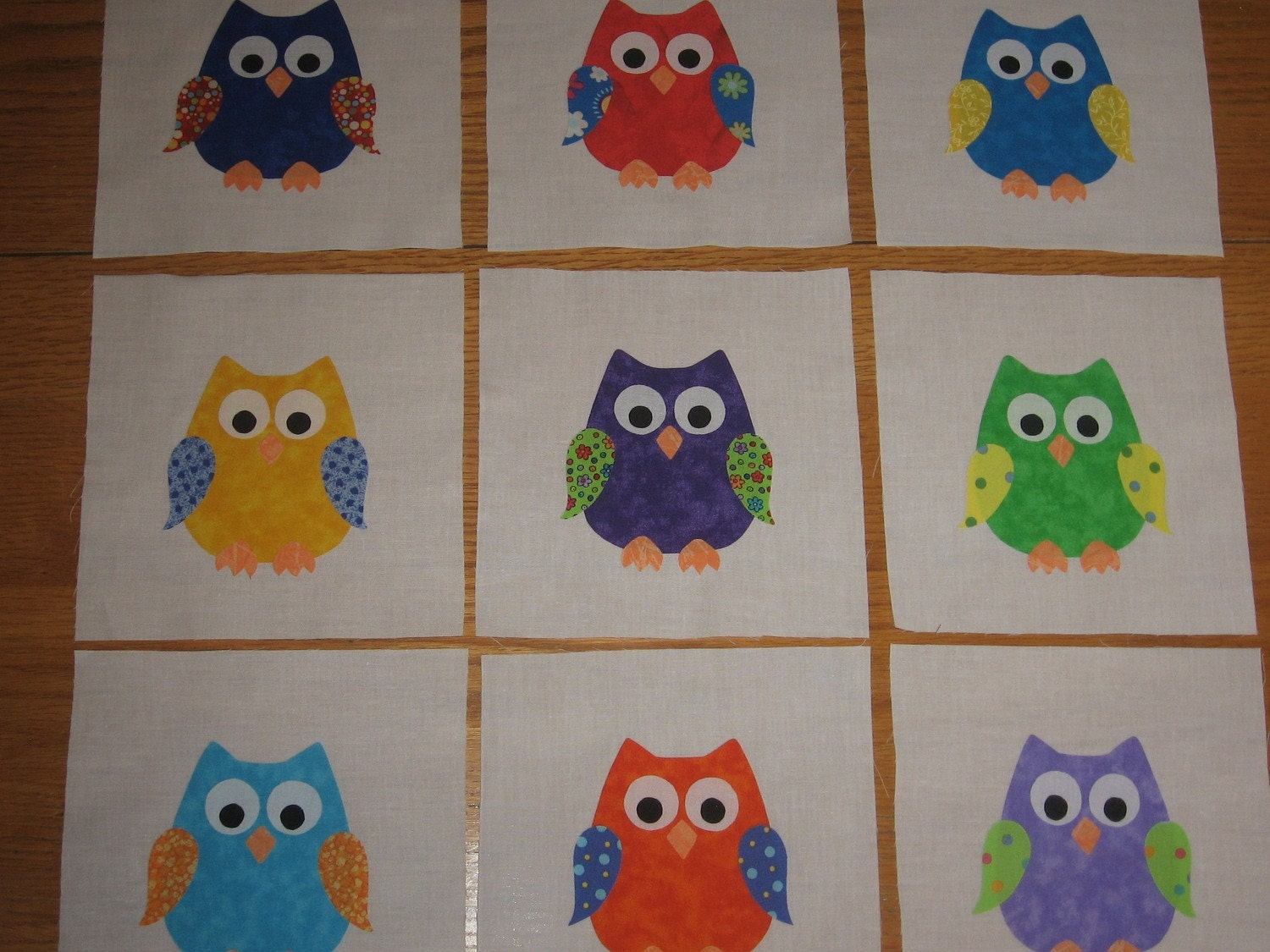 Free Quilt Pattern For Owls : OWLS Applique Quilt Blocks