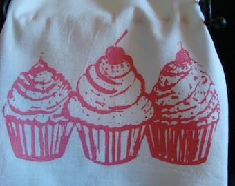 CUPCAKE tea towel - pink and white- flour sack towel - original cupcake art- kitchen towel