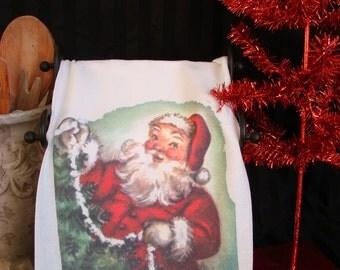 Retro Santa Tea Towel - Holiday print- flour sack towel - Super cute