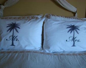 Mr. and Mrs. Pillowcase Set - Palm Tree Island Beach wedding gift destination Wedding Mr. and Mrs.