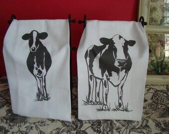 Cow tea towel set - custom printed from my original art - black and white - flour sack towel