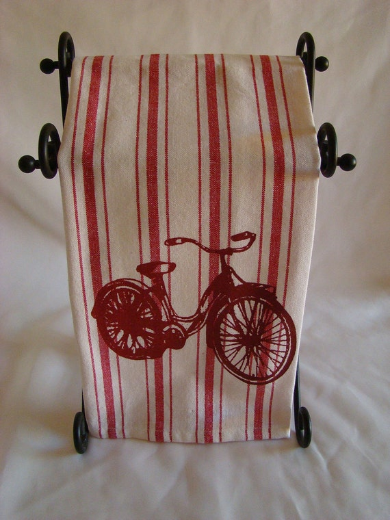 Retro Bicycle Red and White Stripe hand screened kitchen towel