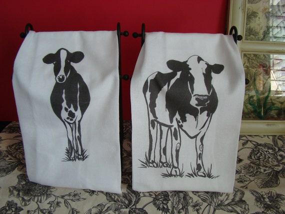 Cow Tea Towel Set Custom Printed From My Original Art