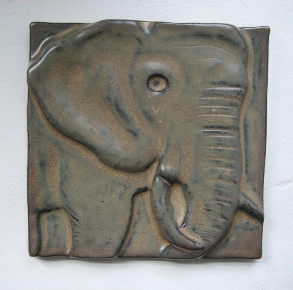 Large Elephant Ceramic Art Tile
