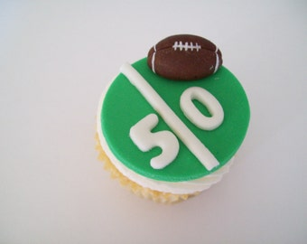 Football Fondant Cupcake Toppers
