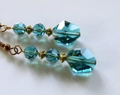 Teal Swarovski Crystal and Antique Gold Earrings