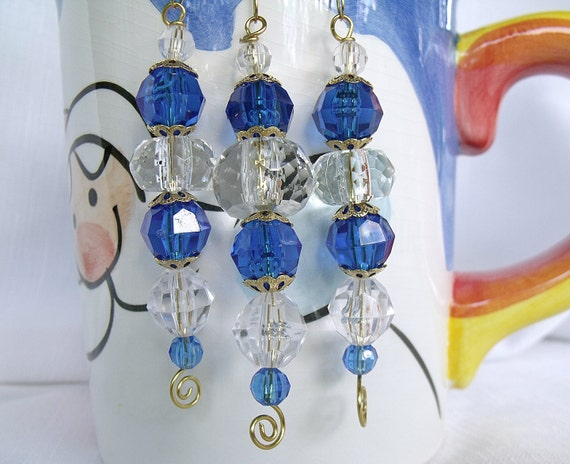 203 - Bead Christmas Ornaments - Christmas Blue and Crystal Clear Icicles