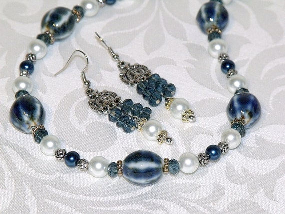 RESERVED FOR PEGGY - Royal Blue and White Bead Necklace and Chandelier Earrings - ceramic, pearl and crystal