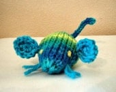 Hand Knit Meowy Wowie Catnip Doozie Mouse with Whiskers - Aqua Variegated Acrylic Yarn