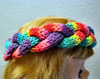 Hand Knit Toddler to Tween Button Back Braided soft Cotton Rainbow Fiesta Button Back Headband