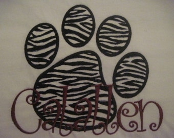 Paw Print embroidery appliqued Tee with School Name