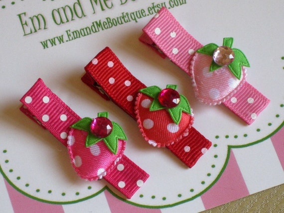 Strawberry Sweet Hair Clips with Rhinestones -set of 3