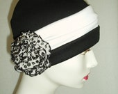 Hat Chemo Black Cap w Headband and Pin Alopecia Sleep Cap Cloche Turban