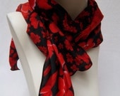 Scarf Red Black Floral Chiffon Scarf Accessory Gift for Her