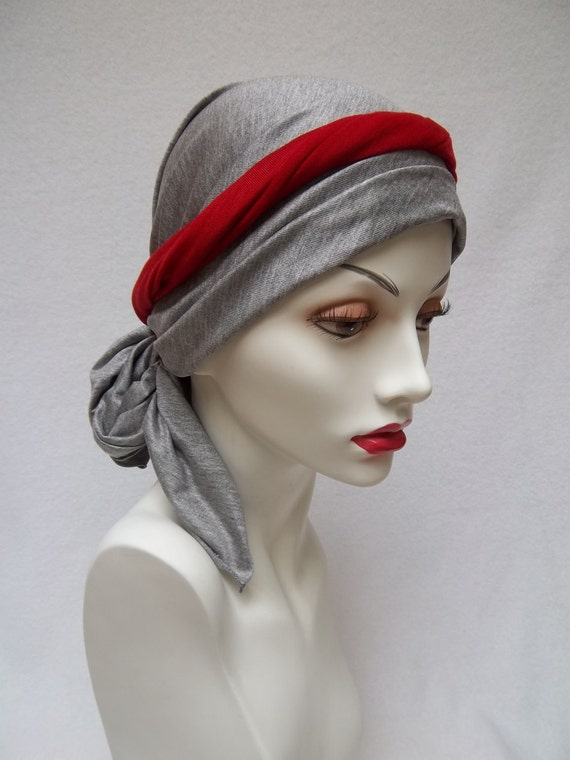 Chemo Alopecia Head Scarf Gray w Red Sash Soft Light Head Covering Tencel Bandana