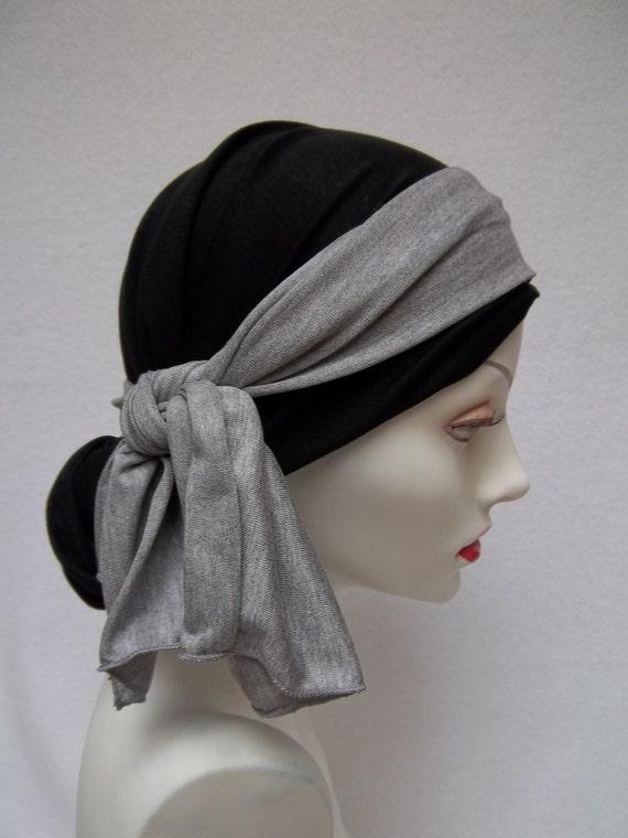 items similar to chemo scarf black tencel w gray sash