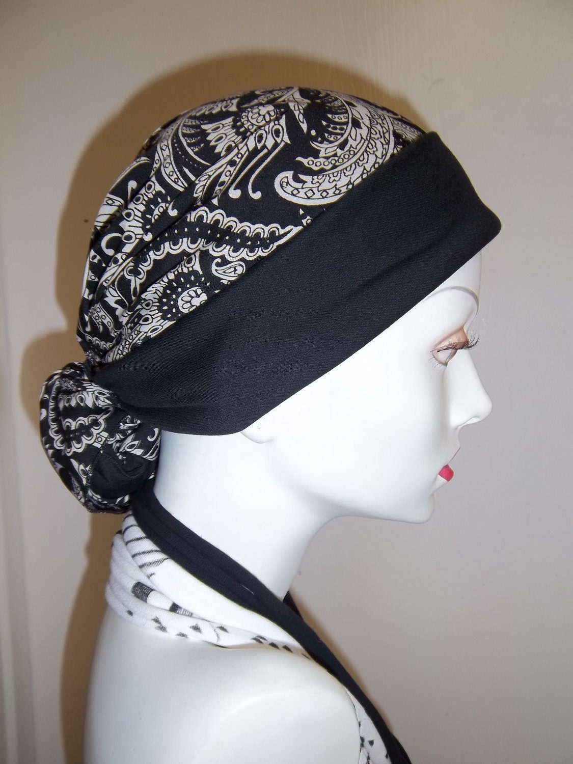 Black White Paisley Chemo Head Scarf Alopecia Cancer Head Cover White Head Scarves Women
