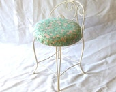 RESERVED until 3.28.2012 - Petite Vanity Chair in Ivory with Cherry Blossom Seat