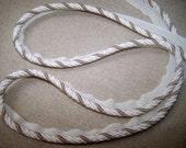 THREE YARD PIECE Cream and taupe 5/8 cord trim