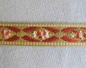 Flat Tape trim brick red-gold-ivory