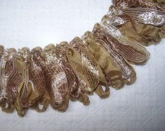 RIBBON Loop Fringe Gold with mixed color ribbons