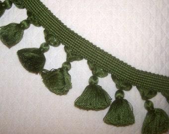 Cotton Tassel Fringe in green