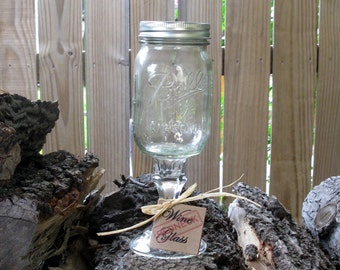 Redneck Wine Glass with Lid & Tag - Large Mason Jar