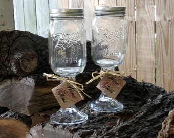 Mason Jar Redneck Wine Glasses Pair of Two - Fun Gift - Hillbilly Approved