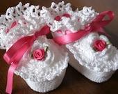 Irish Rose Fine Crochet Baby Booties (Pink) - READY TO SHIP