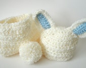 Baby Bunny Hat and Diaper Cover Set - READY TO SHIP