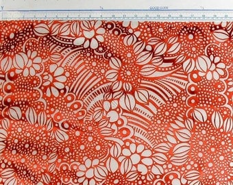 Classic Print Red And White Silk Satin Burnout Designer Silk Fabric  By The Yard - Dolly - WB261