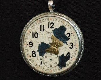 25% off SALE see welcome page for details Steampunk Necklace Distressed Porcelain watch face and Engraved Bezel Pendant