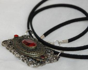 Ornate Ruby Red Altered Art Necklace Vintage Filligree Pendant