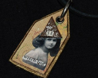 Altered Art Mixed Media Necklace Witching