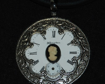 25% off SALE see welcome page for details Steampunk Watch Face and Ornate Filigree Necklace Elegant Cameo Pendant