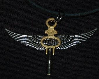 Winged Pocket Watch Key Steampunk Necklace Pendant