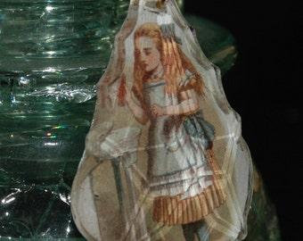 Altered Art Alice in Wonderland  Chandelier Crystal Necklace Pendant