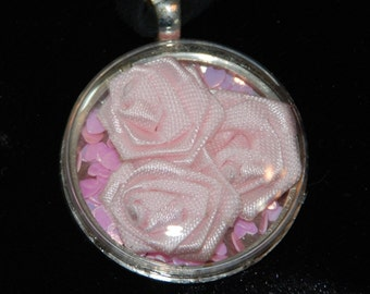 Hearts and Pink Roses Shadowbox Necklace Pendant