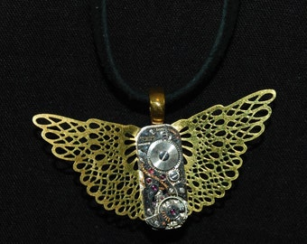 Steampunk Butterfly Watch Movement and Gold Filigree Necklace Pendant