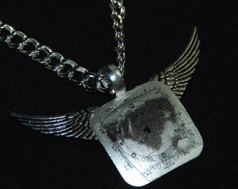 Winged Mixed Media Necklace Vintage watch Face Pendant