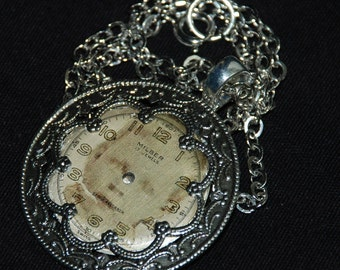 Steampunk Vintage Watch Face and Ornate Filigree Necklace Industrial Art Pendant N8