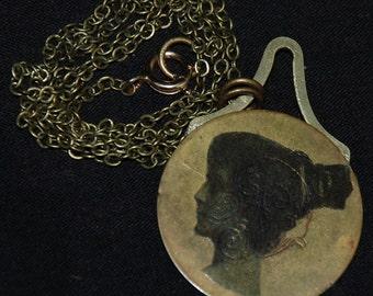 Mixed Media Necklace Vintage Metal Pendant N 4