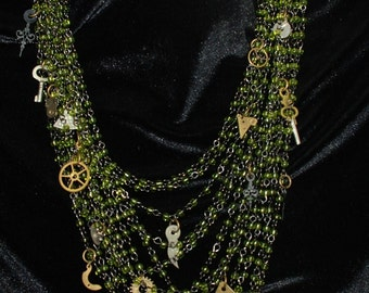 Sexy Steampunk Tangled Chain and Charm Necklace Pendant