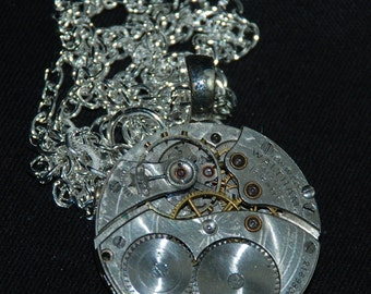 Steampunk Guilloche Engraved  Waltham Watch Movement Necklace Pendant N75