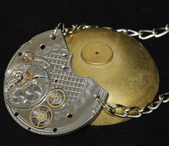 Beautiful Steampunk Inspired Necklace with Guilloche Engraved Pocket Watch Plate Movement Pendant