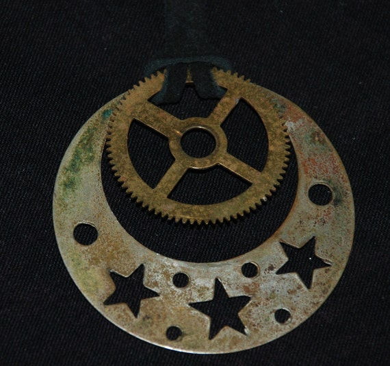 Unisex Steampunk Necklace Pocket Watch Plate Star cutouts Pendant N30