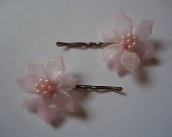 Pink Flower Bobby Pins
