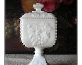 Vintage Milk Glass Compote - Westmoreland Wedding Bowl