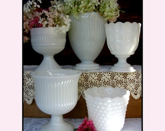 Vintage Milk Glass Planters - Shabby Chic Collection of Five